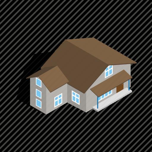 estate, home, house, isometric, residential, storey, three icon