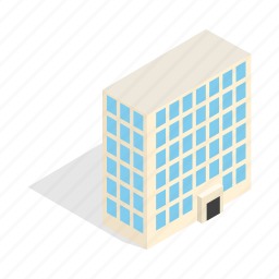 building, estate, home, house, isometric, office, residential icon