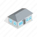 construction, estate, gray, home, house, isometric, residential icon