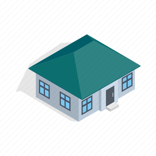 estate, home, house, isometric, one, residential, storey icon