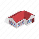 estate, home, house, isometric, red, residential, roof icon