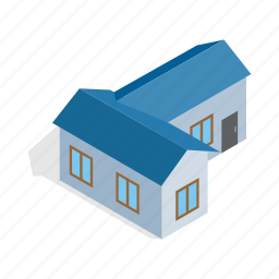 blue, construction, estate, home, house, isometric, residential icon