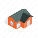 construction, estate, home, house, isometric, orange, residential icon
