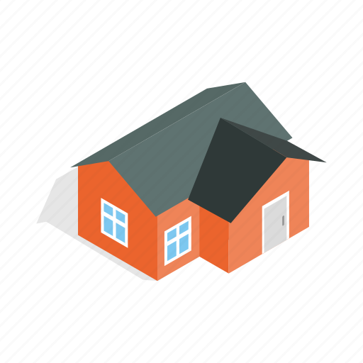 construction, estate, home, house, isometric, orange, residential icon