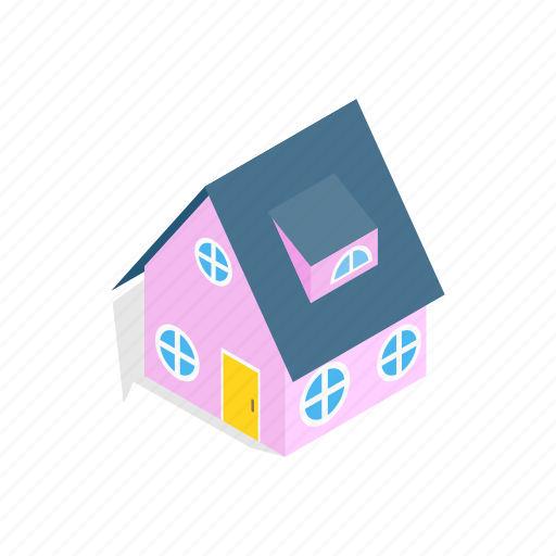 construction, estate, home, house, isometric, pink, residential icon