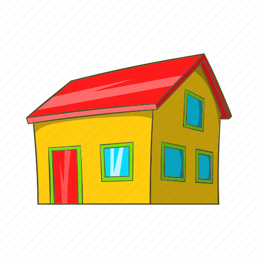 building, cartoon, estate, home, house, real, town icon