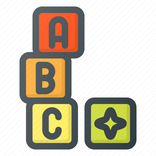 blocks, bricks, building, construction, cube, lettered, toy icon