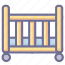 baby bed, bed, bedroom icon