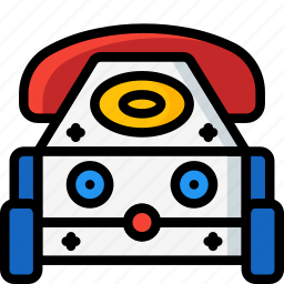 baby, car, phone, phone car, telephone, toys icon