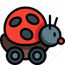 bug, childs, lady, ladybug, on, ride, toys icon