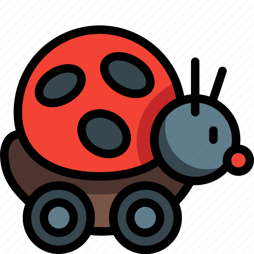 bug, childs, lady, ladybug, on, ride, toys icon