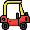 car, childs, coupe, cozy, ride, toys icon