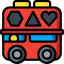baby, bus, childs, shape, sorter, toys icon
