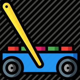 blocks, cart, play, pushalong, toys icon
