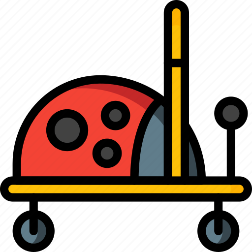 bug, childs, lady, on, ride, toys icon