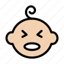 face, kid, baby, toddler, crying icon