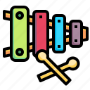 orchestra, instrument, musical, childhood, xylophone, music icon