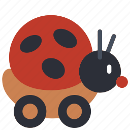 bug, kids, lady, on, ride, toy, toys icon