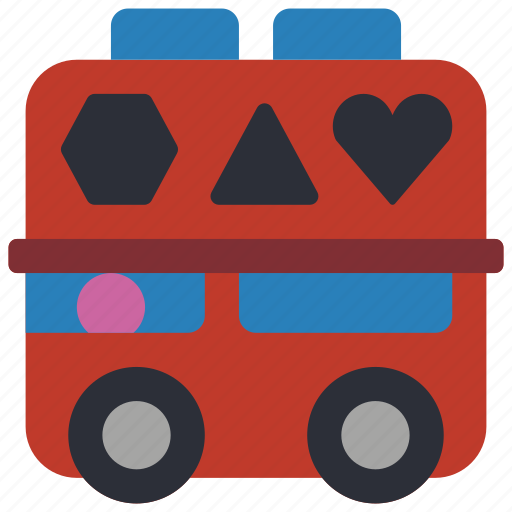 bus, childrens, kids, shape, sorter, toy, toys icon