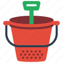 beach, bucket, childrens, kids, spade, toy, toys icon