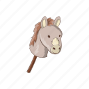 animal, cartoon, character, donkey, horse, sign, toy icon