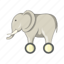 animal, cartoon, elephant, fun, sign, toy, wheels icon