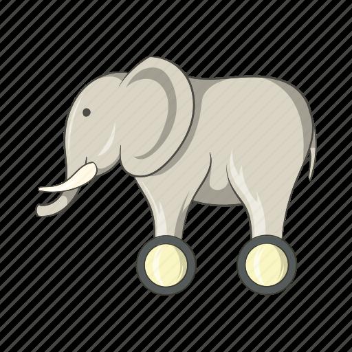 animal, cartoon, elephant, fun, sign, toy, wheels icon