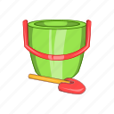 bucket, cartoon, child, childrens, shovel, sign, toy icon