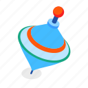 spinning, top, toy, baby icon
