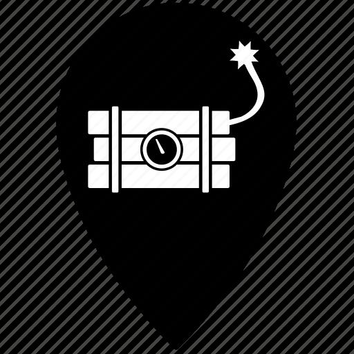 bomb, dynamite, geo, gps, location, place icon