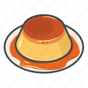 caramel pudding, custard, food, pudding, sweet icon