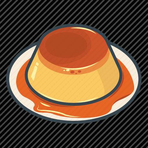 caramel pudding, custard, food, pudding, sweet icon