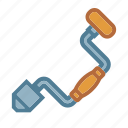 brace, brace and bit, drill, woodworking icon