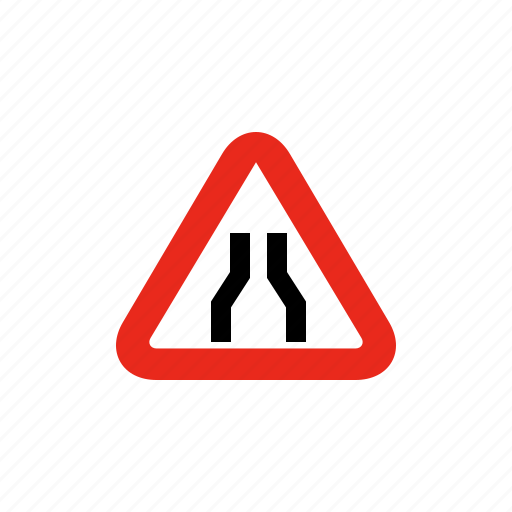 merge, road sign, sign, traffic sign, two lanes icon