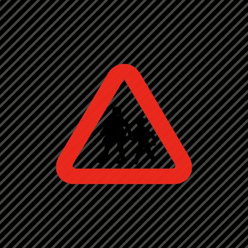 crosswalk, pedestrian, road sign, school crossing, sign, traffic sign icon
