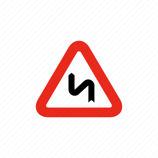 curve, curved road, road sign, sign, traffic sign icon