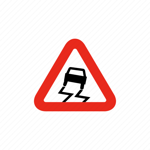 road sign, sign, slipper road, slippery, traffic sign icon