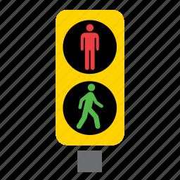 circulation, green, light, pedestrian, red, traffic icon