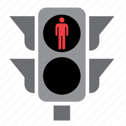 circulation, light, pedestrian, red, traffic icon