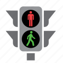 circulation, green, light, pedestrian, red, traffic icon