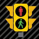 circulation, green, light, pedestrian, red, traffic