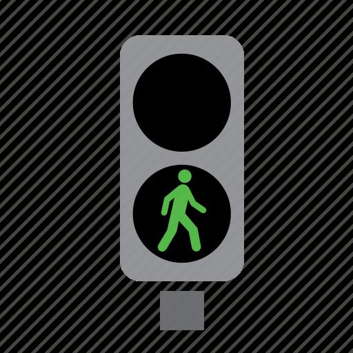 circulation, green, light, pedestrian, traffic icon