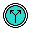 split, road, arrow, traffic, sign