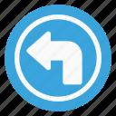 arrow, direction, left, sign, traffic, turn icon