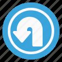 arrow, direction, left, navigation, sign, traffic, u-turn icon