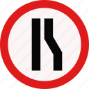 constriction, driveing, sign, traffic icon