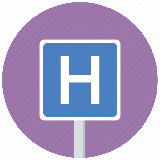 hospital, sign, traffic sign icon