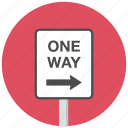 one way, right, traffic sign icon