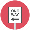 left, one way, traffic sign icon