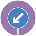 arrow, keep left, traffic sign icon